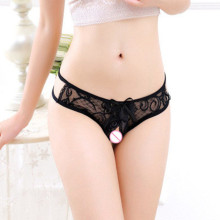 Buy Women's Sexy Perspective Lace T Pants Open Crotch G-Strings Erotic Crotchless Underwear Sex Lingerie Low Rise Thong
