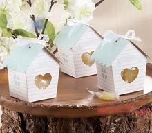 Love Nest Bird House Favor Box  Paper Candy Gift Boxes With Tag And Ribbon  For Party favors 12pcs