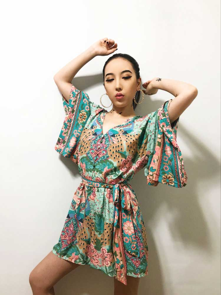 2cb7cb3ef90f 2019 BOHO INSPIRED Floral Printed Kimono Rompers Gypsy Style Chic ...