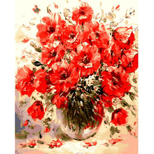 No Framed Picture Red Flowers DIY Digital Painting By Numbers Wall Art Picture Hand Painted Acrylic Paint By Numbers For Artwork