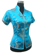 Promotion Blue Chinese Style Women Summer Blouse V-Neck Shirt Tops Silk Satin Tang Suit Top S M L XL XXL XXXL JY0044-4(China)