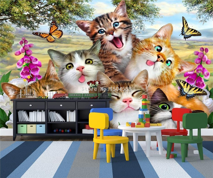 HTB1I4r6SpXXXXc7XVXXq6xXFXXXl - 3D Cartoon Cute Cat Animal Wallpaper For Kids Room-Free Shipping