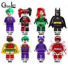 GonLeI Harley Quinn Joker Batman Catwoman Robin Poison Ivy Calendar of People Super Heroes Building Blocks Kids Toys(China)