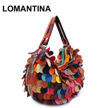New Stylish Genuine Leather Women Handbags Brand Ladies Tote Patchwork Bags Popular Handbags Free Shipping(China)