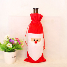 Practical Jokes Toy Red Wine Bottle Cover Bags Christmas Dinner Table Decoration Santa Claus New Year Home Party Decors  YH-17