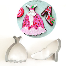 2pcs patisserie reposteria Cocktail Dress High Heel Shoes Fondant Cake Decor Cookie Cutter Biscuit Pastry Shop Chocolate Mould(China)