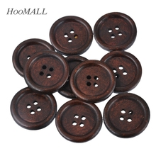 Hoomall 50PCs Brown Wooden Buttons 20mm/25mm Natural Color Sewing Buttons Scrapbooking & Craft 4 Holes(China)