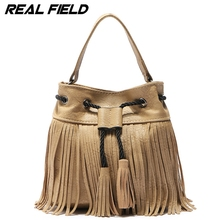 Real Field Women's Shoulder Bags Bohemia Lady Crossbody Fringe Drawstring Bucket Female Tassel Messenger Handbags 130