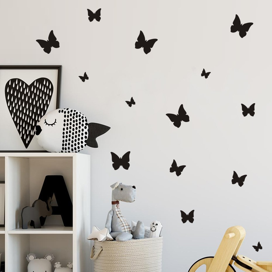 35pcs Butterfly Wall Stickers Diy Gold Wall Decals Vinyl Mural Wall