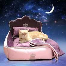 Luxury Princess Pet Bed With Pillow Blanket Dog Bed Cat Bed Mat Sofa Dog House Nest Sleep Cushion Kennel Mascot Free Shipping(China)