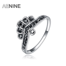 AENINE Brand New design Zinc Alloy Black Czech Crystal Crown Women rings for party Christmas gift L2010590070