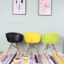 Famous Modern Design Plastic and Solid wooden Leg Dining arm Chair, fashion loft design cafe chair, meeting office chair 2PC
