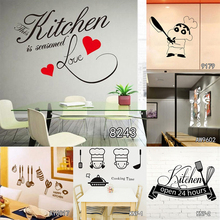 The Kitchen is Home Heart Pattern Quotes Wall Sticker PVC Removable House Decoration Cuisine Wallpaper Wall Poster for Hotel(China)