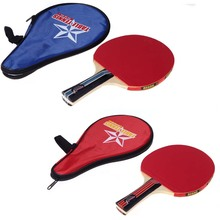 Black/Red Long Handle Shake-hand Table Tennis Racket 7-layer Wood Pingpong Paddle with Waterproof Carry Bag Pouch(China)