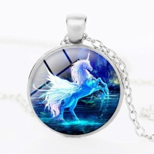 SUTEYI New Mist White Unicorn Horse Glass Photo Cabochon Necklace Horse Silver Necklaces Horse Art Glass Dome Pendant Jewelry(China)