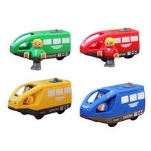 New Arrivel Interesting Electric Small Locomotive Wooden Track Train Toy Electric Locomotive Toys Christmas Funny Gift Kids(China)