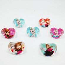 Fashion Jewelry 50pcs popular high quality cartoon kids Baby Rings lovely cute cartoon Elsa Anna Princess Resin Rings(China)