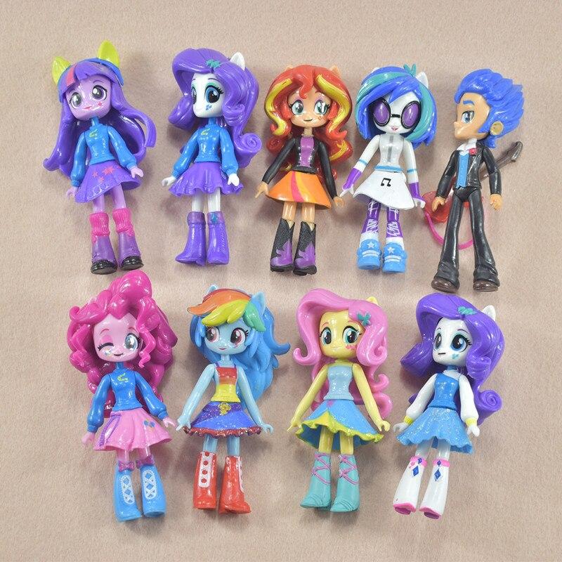 9pcs/set Twilight Sparkle Rainbow Dash Apple Jack Rarity Fluttershy Pinkie Pie Action Toy Figures Kids Toys<br>