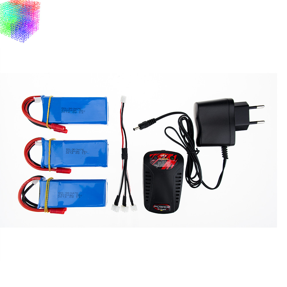 X8C lipo 7.4v 2400mah battery 3pcs and charger for syma X8W X8G rc Quadcopter drone spare part wholesales<br>