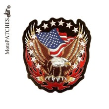 Biker Patches Harley Eagle Flame Badges Embroidered Patches Motorcycles Custom Made Iron On Patches(China)