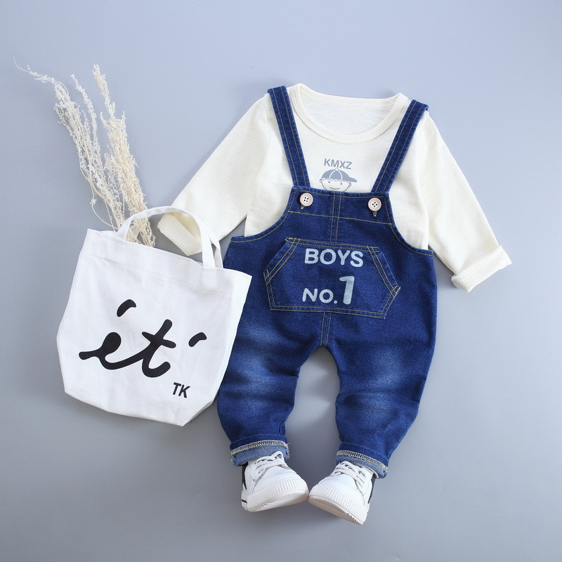 Autumn Baby Boys Clothing Set Fashion Letter Cotton Long Sleeve T-shirt Tops+Denim Overalls Pant Suits For 1-3 Years old Baby(China)