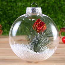 1 Pc Simple Plastic Christmas Tree Ball Clear Hanging Decoration Ornament Gifts Color Random(China)