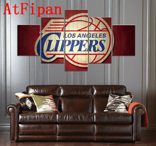 AtFipan Modular Pictures 5 Panel Clippers Los Angeles Sports Deco Fans Poster Oil Painting On Canvas Pictures For Living Room(China)