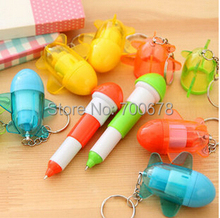 50pcs/lot airplane style ballpoint pen with Key Chain creative stationery promotion children gift school prize(China)