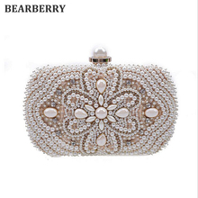 BEARBERRY 2017 hot sales single side pearl clutch bags famous brand diamond clutch wallets banquet clutch purse with chain MN278