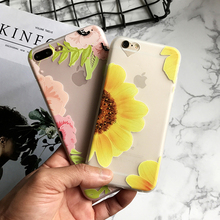 Silicone Matte Body Case for iPhone 7 6s Case Soft Rose Flower Floral Phone Cases Back Cover for 7 6 Plus Coque Sunflower Leaf