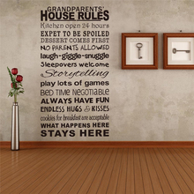 grandparents house rules removeable vinyl wall stickers quotes living room indoor wall art decor diy decals black decoration(China)