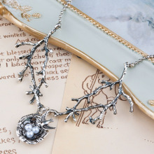DoreenBeads Handmade Necklace dull silver color Swallow Bird Nest Branch White Acrylic Imitation Pearl 70.5cm 1PCs