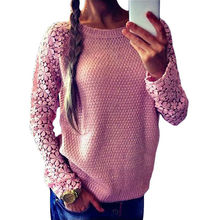 2016 Newest High Quality Women Casual Lace Crochet Pullover Knitted Long Sleeve Hollow Out Oversized Christmas Sweater Jumper