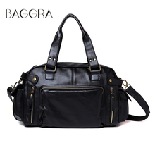 BAGGRA Vintage Men Messenger Bags High Quality Pu Leather Handbags Mens Satchel Shoulder Bag Large Capacity Travel Sacoche Homme