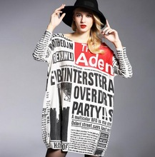 Women  Newspaper Printing Large Size Women Pullover Sweater Fat mm large size women pullover printing Loose sweaters