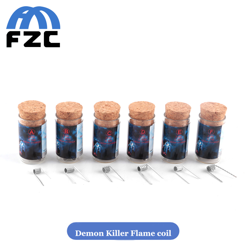 Authentic Demon Killer Flame Coil Prebuilt 0.25 0.35 0.5ohm 316L Heating Wires For DIY E Cigarette RDA RTA Atomizers(China (Mainland))