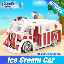 Xingbao 08004 1000Pcs Genuine Technic Series The Ice Cream Car Set Building Blocks Bricks Children Educational Toys Model Gifts(China)