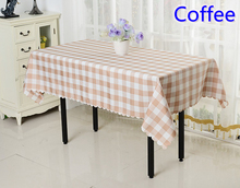 Coffee colour polyester table cloth checked pattern table cover wedding decoration wholesale plain print pattern table coloth
