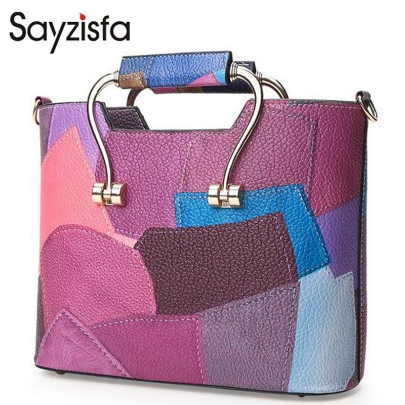 Sayzisfa 2017 Women Bags Luxury Leather Handbags Fashion Women Famous Brands Designer Handbag High Quality Female Shoulder T164<br>