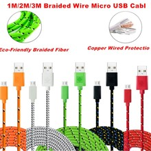 XEDAIN Good quality 1M/2M/3M Nylon Braided Micro USB Cable Charger Data Sync Cable Cord For Samsung Galaxy Cell phones 5 colors