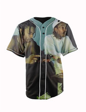 Real American Size  wiz  and asap 3D Sublimation Print Custom made Button up baseball jersey plus size