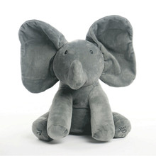 New Style Peek A Boo Elephant Stuffed Animals & Plush Elephant Doll Play Music Elephant Educational Anti-stress Toy For Children(China)