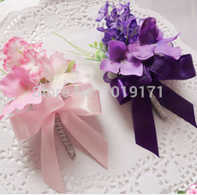 Prom 8pcs Fabric Boutonniere Artificial Rose Corsage Flower Wedding Decor Marriage Dancing Buttonhole Purple Pin Pink  F415