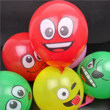 10PCS Inflatable Balls For Holidays Multicolor Cartoon Face Smile Expression Latex Party Balloons Random Delivery Air Balloons