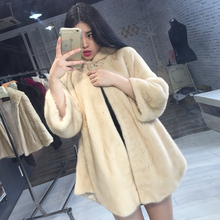 imports genuine mink fur coats hooded women natural whole skin fur coat slim luxury outweater winter clothing large size 4XL 5XL