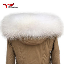 Raccoon Fur Collar Winter Women's Real Fur Collar Cap Straight white Fur Scarf Neck Warmer Scarves L#85
