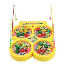 Yellow Go Fishing Game Electric Rotating Magnetic Magnet Fish Toy Kid Educational Toys
