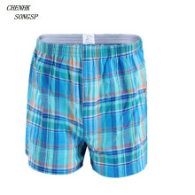 4 Pcs/Lot Cotton Underwear Men Plaid Boxer Sleep Underpants Quality Loose Mans Casual Homewear Panties M-6XL(China)