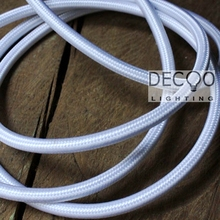 White Ryan Covered Braided Lighting Cable Vintage Lamp Cord Textile Cable(China)