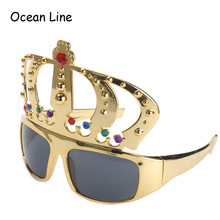 Beautiful Crown with Jewel Hen Party Costume Glasses Electroplating Sunglasses for Birthday Gift Party Supplies Decoration